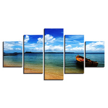 Blue Sky Cloud Beach Boat 5 Piece HD Multi Panel Canvas Wall Art Frame