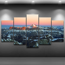 Sunrise in the Alps 5 Piece HD Multi Panel Canvas Wall Art Frame