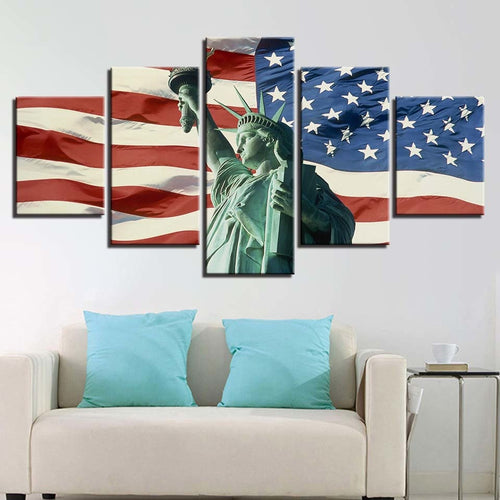 American Flag & Statue of Liberty 5 Piece HD Multi Panel Canvas Wall Art Frame