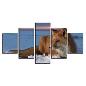 Winter Snow Fox 5 Piece HD Multi Panel Canvas Wall Art Frame