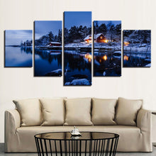 Cottage Snow Lake Night 5 Piece HD Multi Panel Canvas Wall Art Frame