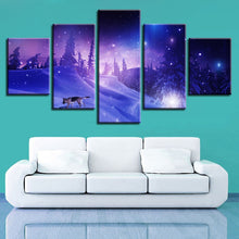 Snow Forest Wolf 5 Piece HD Multi Panel Canvas Wall Art Frame