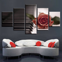 Red Rose And Piano 5 Piece HD Multi Panel Canvas Wall Art Frame
