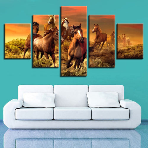 Running Horses 5 Piece HD Multi Panel Canvas Wall Art Frame