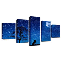Wild Wolf And Moon Night 5 Piece HD Multi Panel Canvas Wall Art Frame