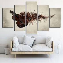 Violin Slowly Fading 5 Piece HD Multi Panel Canvas Wall Art Frame