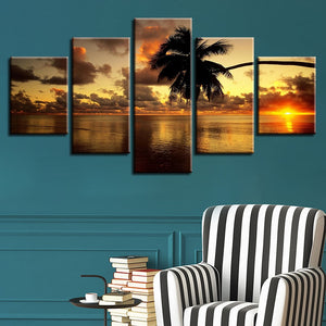 Sunset Palm Tree 5 Piece HD Multi Panel Canvas Wall Art Frame