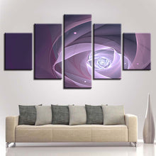 Purple Abstract Flower 5 Piece HD Multi Panel Canvas Wall Art Frame
