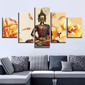 Buddha Statue Fishes And Flowers 5 Piece HD Multi Panel Canvas Wall Art Frame