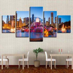Fountains Building Nights-cape 5 Piece HD Multi Panel Canvas Wall Art Frame