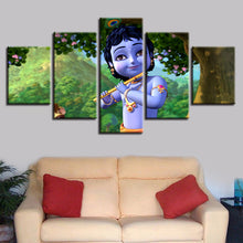 Little Krishna Painting 5 Piece HD Multi Panel Canvas Wall Art Frame