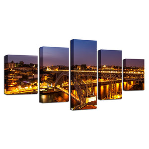 Porto Ponte Dom Luis 5 Piece HD Multi Panel Canvas Wall Art Frame