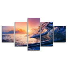 Sunset Sea Waves 5 Piece HD Multi Panel Canvas Wall Art Frame