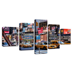 American Bustling City 5 Piece HD Multi Panel Canvas Wall Art Frame
