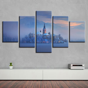 Bled Lake Church 5 Piece HD Multi Panel Canvas Wall Art Frame