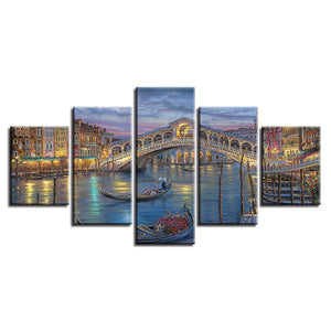 City Venice Bridge 5 Piece HD Multi Panel Canvas Wall Art Frame