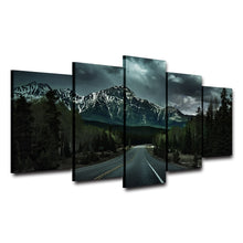Highway Road 5 Piece HD Multi Panel Canvas Wall Art Frame