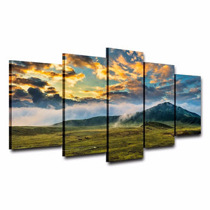 Green Grass Lawn And Mountains 5 Piece HD Multi Panel Canvas Wall Art Frame