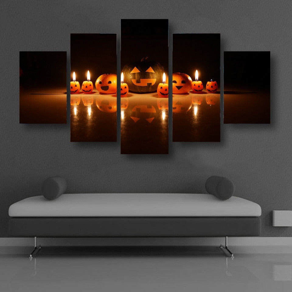 Halloween Carved Pumpkin 5 Piece HD Multi Panel Canvas Wall Art Frame
