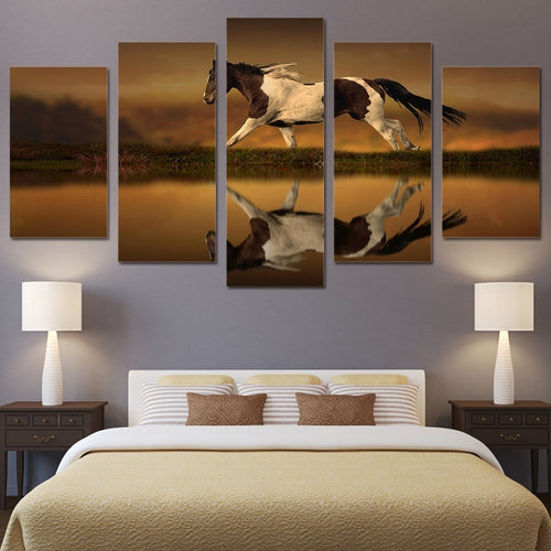 Animal Horse Running 5 Piece HD Multi Panel Canvas Wall Art Frame