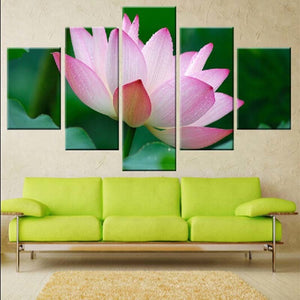 Enchanting Lotus 5 Piece HD Multi Panel Canvas Wall Art Frame