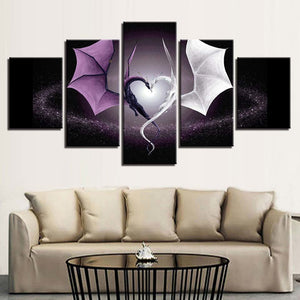 Heart Dragons 5 Piece HD Multi Panel Canvas Wall Art Frame