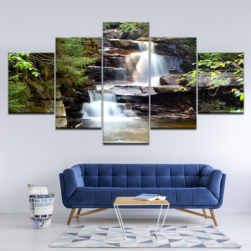 Beautiful Waterfall 5 Piece HD Multi Panel Canvas Wall Art Frame