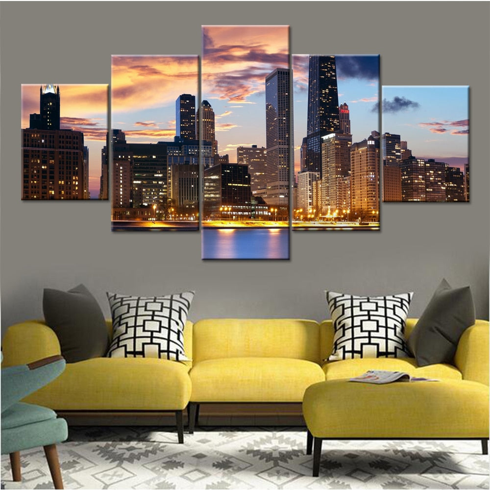 Sunset City Dusk 5 Piece HD Multi Panel Canvas Wall Art Frame