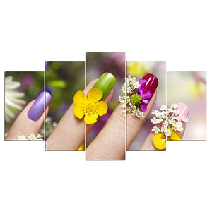Nail Flower Art 5 Piece HD Multi Panel Canvas Wall Art Frame