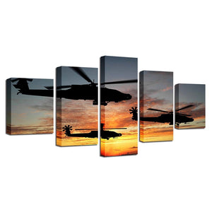 Helicopters in Action 5 Piece HD Multi Panel Canvas Wall Art Frame