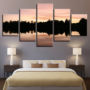 Trees Reflected In The Lake 5 Piece HD Multi Panel Canvas Wall Art Frame