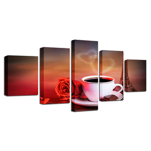 Coffee And Red Rose 5 Piece HD Multi Panel Canvas Wall Art Frame