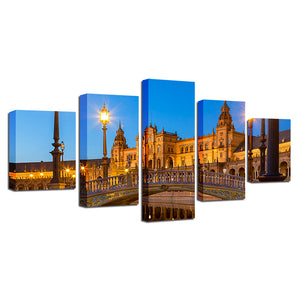 Spanish Buildings 5 Piece HD Multi Panel Canvas Wall Art Frame