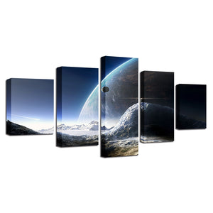 Universe Space Planet 5 Piece HD Multi Panel Canvas Wall Art Frame