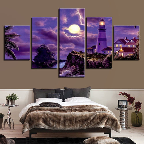 Purple Moonlit Night 5 Piece HD Multi Panel Canvas Wall Art Frame