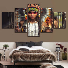 Indian Headdress Feathers 5 Piece HD Multi Panel Canvas Wall Art Frame