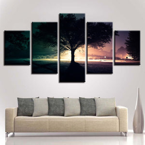 Tree Nightscape At Dusk 5 Piece HD Multi Panel Canvas Wall Art Frame