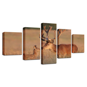Prairie Elk 5 Piece HD Multi Panel Canvas Wall Art Frame