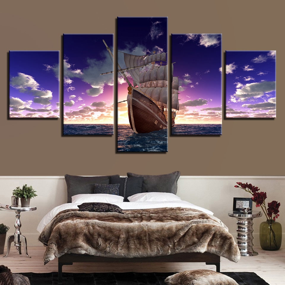 Sailboat Sunset 5 Piece HD Multi Panel Canvas Wall Art Frame
