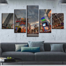 Japan Tokyo City 5 Piece HD Multi Panel Canvas Wall Art Frame