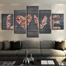 Flowers Love 5 Piece HD Multi Panel Canvas Wall Art Frame