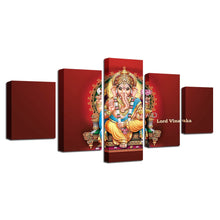 Lord Vinayaka 5 Piece HD Multi Panel Canvas Wall Art Frame