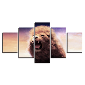 Lion Roar 5 Piece HD Multi Panel Canvas Wall Art Frame