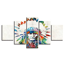 Native American Indian 5 Piece HD Multi Panel Canvas Wall Art Frame