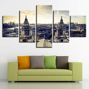London Building 5 Piece HD Multi Panel Canvas Wall Art Frame