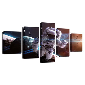 Astronaut in Action 5 Piece HD Multi Panel Canvas Wall Art Frame