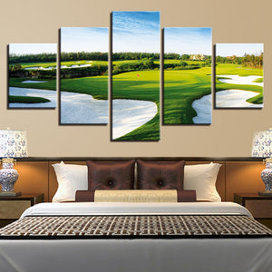 Golf Course 5 Piece HD Multi Panel Canvas Wall Art Frame