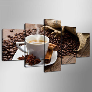 Coffee Beans Cup 5 Piece HD Multi Panel Canvas Wall Art Frame