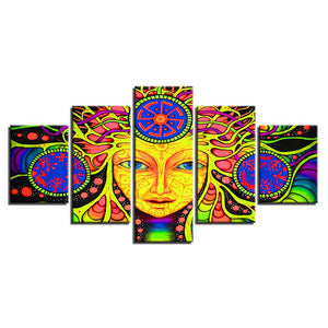 Psychedelic Mandala 5 Piece HD Multi Panel Canvas Wall Art Frame