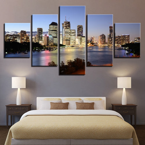 Seaside City Night 5 Piece HD Multi Panel Canvas Wall Art Frame